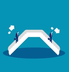 Businessman on an escalator concept business vector