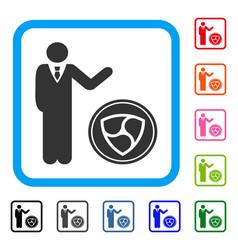 Businessman show nem coin framed icon vector