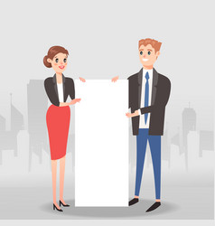 businessmen and women holding blank or empty sign vector image