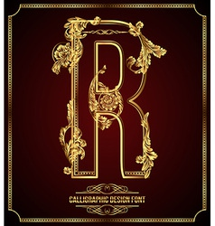 Calligraphic font Letter R vector
