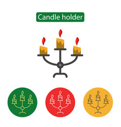 Candle holder line icon vector