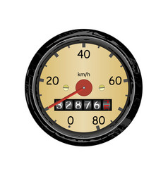 Car speedometer with speed scale and kilometer vector