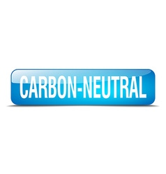 Carbon-neutral blue square 3d realistic isolated vector