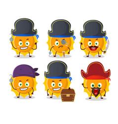 Cartoon character sun with various pirates vector
