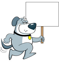 cartoon dog running and holding a sign vector image
