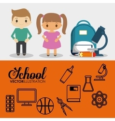Cartoon pupils school bag pencil utensils banner vector