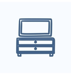 Chest of drawers with mirror sketch icon vector image