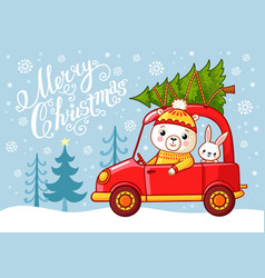 christmas card with a teddy bear and a hare that vector image