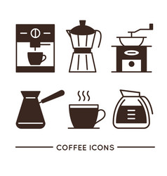 coffee shop linear icons set vector image