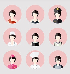 Colorful female profession app icons set in trendy vector