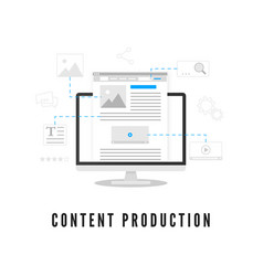 Content production blogging or news creating vector
