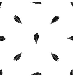Culinary bay leaves pattern seamless black vector