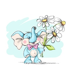 Cute and funny baby elephant with a bouquet of flo vector image vector image