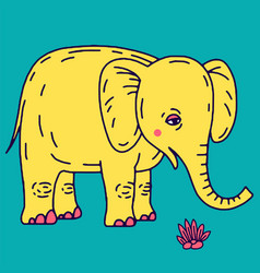 Cute elephant cartoon sitting vector