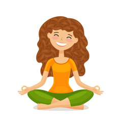 Cute girl doing yoga relaxation meditation vector