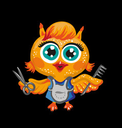 cute owl cartoon character hairdresser vector image