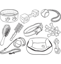 Dog accessories - pet equipment hand-drawn vector image