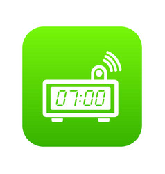 electronic alarm clock icon green vector image