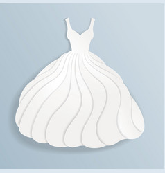 Elegant paper silhouette of white wedding dress vector