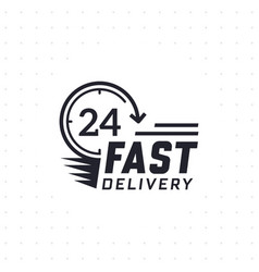 fast delivery 24 hour in black color vector image