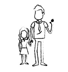 Figure father with his daughter together and vector