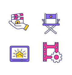 Film industry color icons set vector