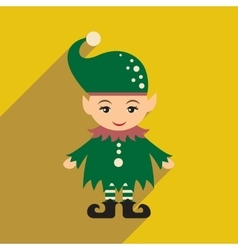 Flat icon with long shadow christmas gnome vector
