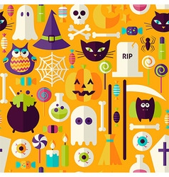 Flat Orange Halloween Trick or Treat Objects vector