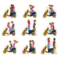 Flat set with loving couple and scooter vector