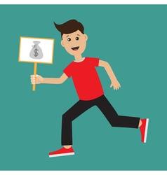Funny cartoon running guy Boy character vector