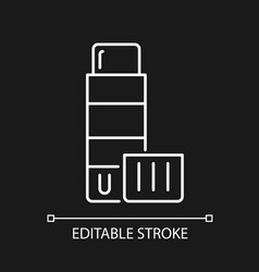 Glue stick white linear icon for dark theme vector