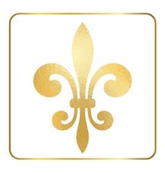 Golden fleur-de-lis heraldic emblem foil 1 vector