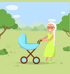Grandmother with child in baby buggy in park vector