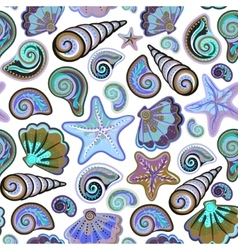 Graphic pattern with seashells sea stars Hand vector