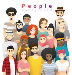 Group happy multi ethnic people background vector