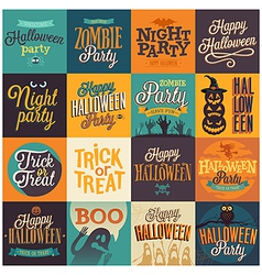 halloween emblems set vector image