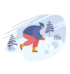 happy man making snowballs snow laughing and vector image