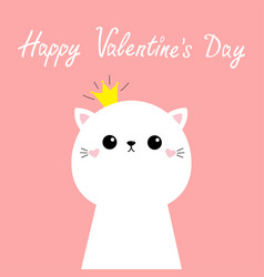happy valentines day cute cat kitten kawaii kitty vector image
