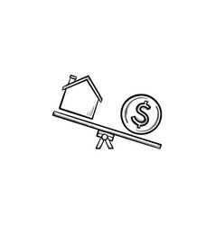 house and dollar on seesaw hand drawn outline vector image