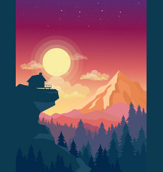 House on top of mountain vector