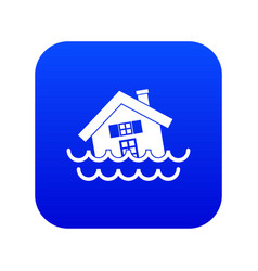 House sinking in a water icon digital blue vector