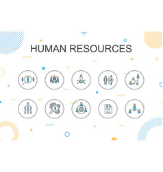 Human resources trendy infographic template thin vector