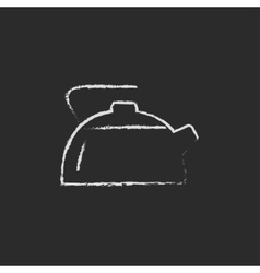 Kettle icon drawn in chalk vector image