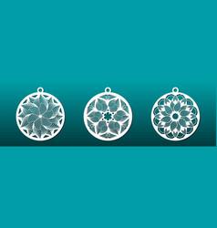 laser cut mandala decorative christmas balls wall vector image
