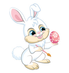 Little cute funny white rabbit with easter egg vector