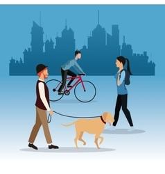 man dog girl walking and guy ride bike city vector image