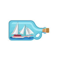 miniature sea ship inside of glass bottle with vector image