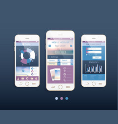 mobile ui kit design with phones vector image