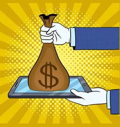 money from gadget metaphor pop art vector image