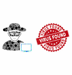 Mosaic computer hacker with distress virus found vector